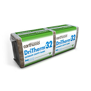 Knauf Earthwool Dritherm 32 Ultimate Cavity Insulation Slab 75mm x 1200mm x 455mm